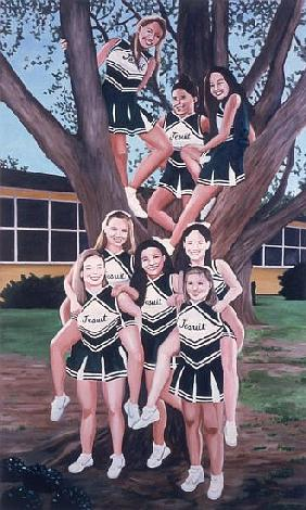 Jesuit Cheerleaders in a Tree, 2002 (oil on canvas)