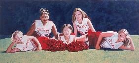 Junior High School Cheerleaders on the Grass, 2003 (oil on canvas)