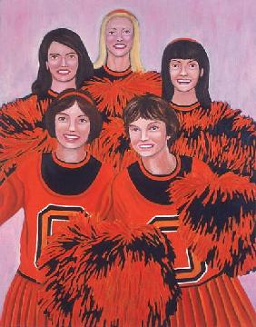 Oregon State Cheerleaders, 2002 (oil on canvas)