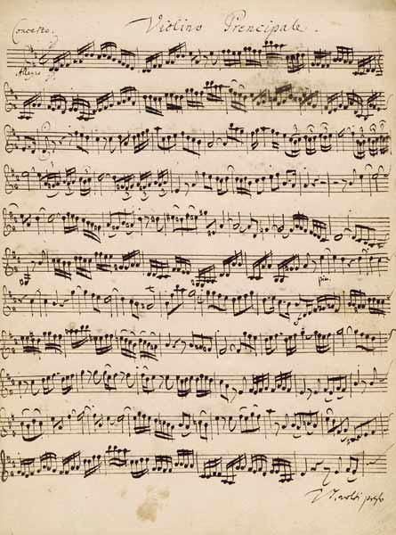 The Brandenburger Concertos, No.5 D-Dur, 1721 (pen and ink on paper) (see also 308416)