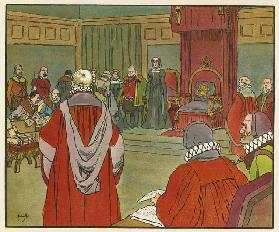 The trial of Mary Queen of Scots (colour litho)