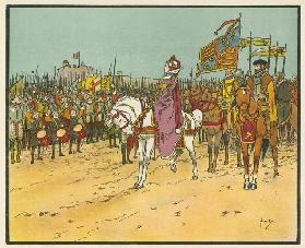 Elizabeth I reviews the troops at Tilbury (colour litho)