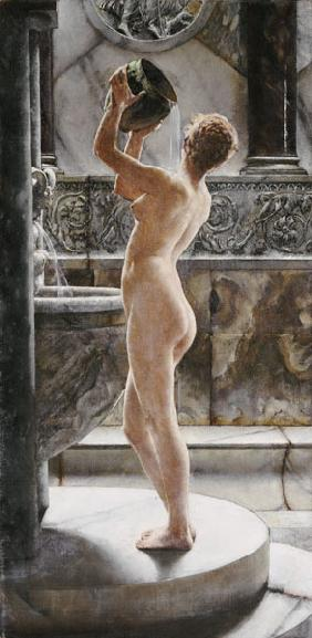 ''The Bath'': Green Pot, Golden Hair; Brown And Grey Marble