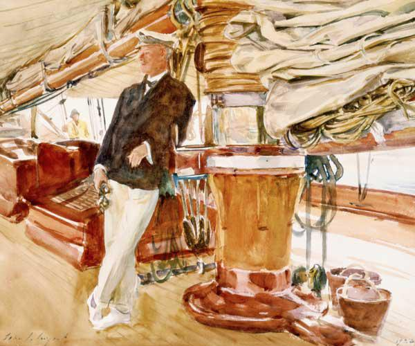 Captain Herbert M. Sears on deck of the Schooner Yacht Constellation
