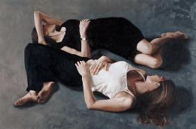 Sisters (oil on canvas board)