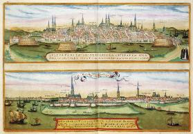 Map of Lubeck and Hamburg, from 'Civitates Orbis Terrarum' by Georg Braun (1541-1622) and Frans Hoge