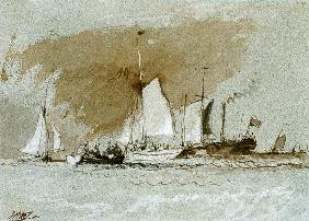 Fishing Boats at Sea, boarding a Steamer off the Isle of Wight