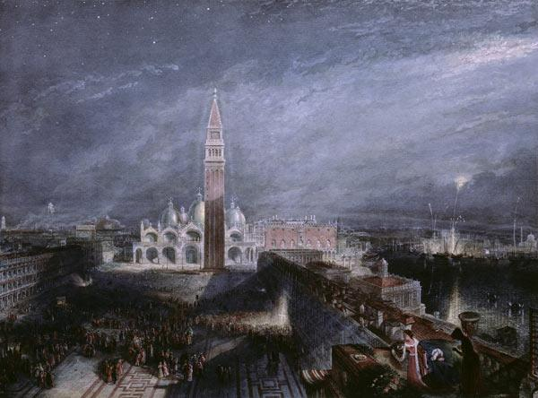 St. Mark's Place, Venice (Moonlight) engraved by George Hollis (1792-1842) pub. 1881 (litho)