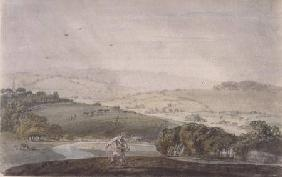 A Farmer Sowing, with a River Valley and Rolling Hills Beyond