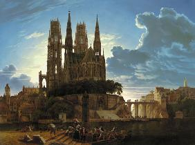 Cathedral over a town. nach 1813