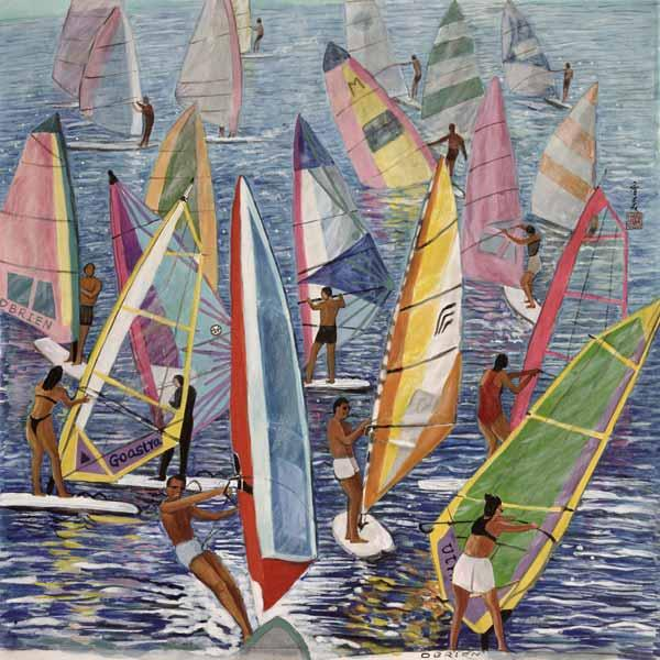 Smooth Sailing, 1992 (gouache on silk)