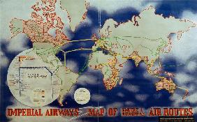 Imperial Airways Map of Empire and European Air Routes