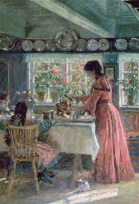 The Coffee is Poured - The Artist's Wife with their 2 daughters