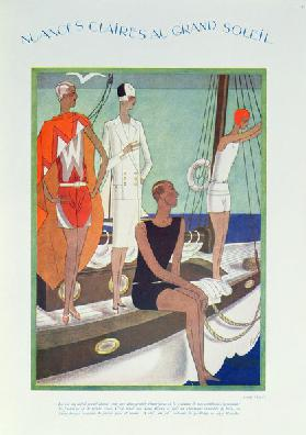 Summer Life on the yacht, fashion plate from Femina magazine, May 1927 (colour litho)