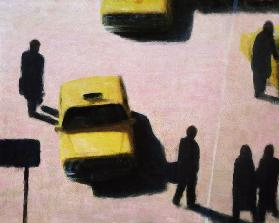 New York Taxis, 1990 (acrylic on canvas)