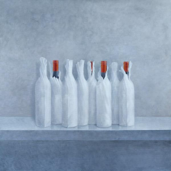 Wrapped bottles on grey, 2005 (acrylic on canvas)