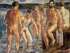 Men taking a bath