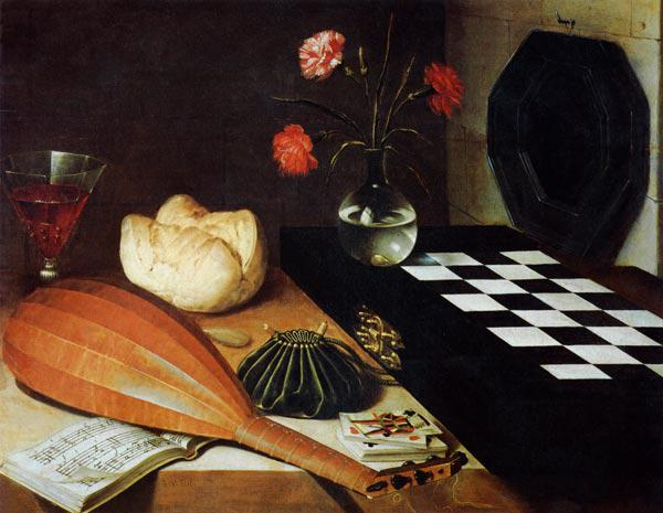 Quiet life with lute and chess-board.