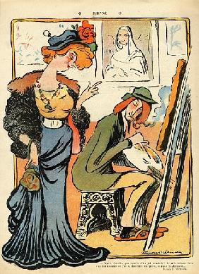 Phryne: caricature of an artist''s model, from the back cover of ''Le Rire'', 23rd February 1907