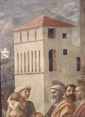 St. Peter Distributing the Common Goods of the Church, and the Death of Ananias (Detail of faces, in