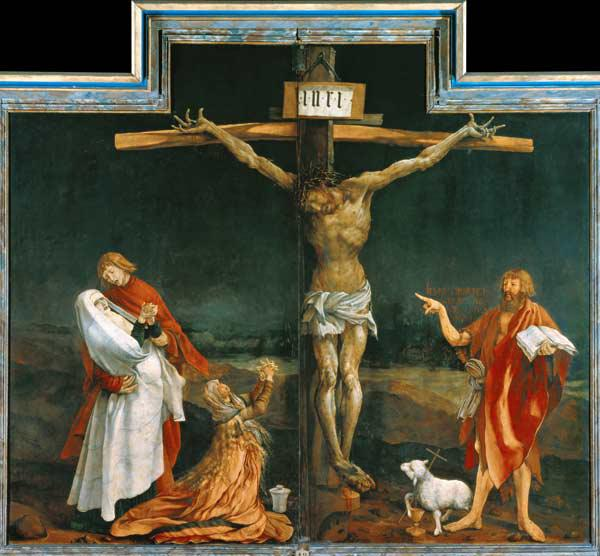 Isenheimer altar middle panel of the closed Retabel: Crucifixion Christi