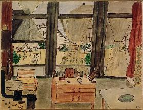 Max Beckmann's bedroom with the curtain open