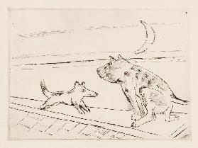 Dogs in the evening breeze (Hunde im Abendwind). 1921 (H. 204)