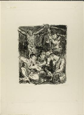 Throwing Dice Before the Cross, plate six from Sechs Lithographien zum Neuen Testament