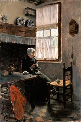 Knitting farmer at the window