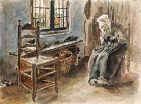 Old Dutchwoman at the window watercolor painting doing needlework