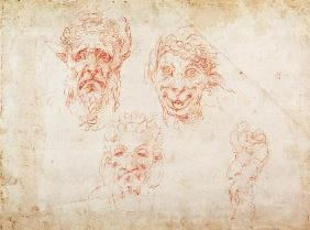 W.33 Sketches of satyrs' faces