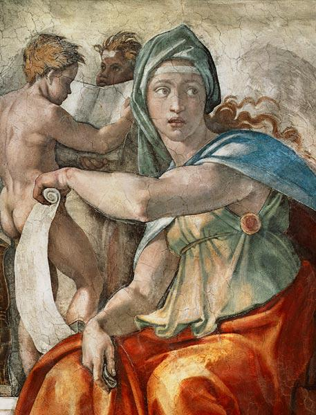 Ceiling fresco of the Sistine chapel: The Delphic Sybille
