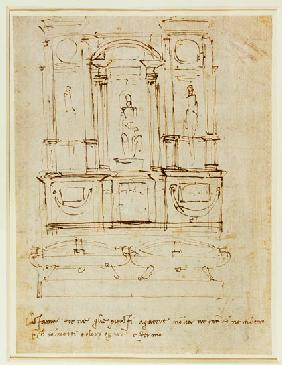 Inv.1859-6-25-543.recto (w.28) Study for the Tomb of Pope Julius II (brown ink)