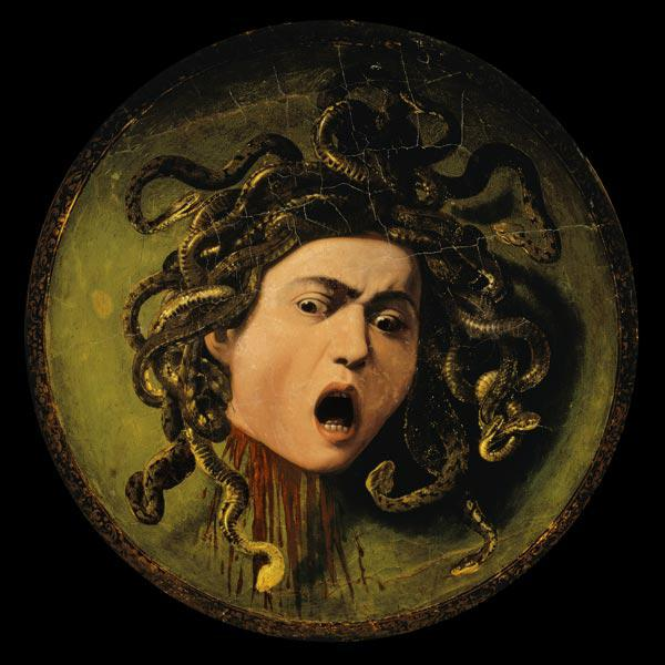 Medusa, painted on a leather jousting shield