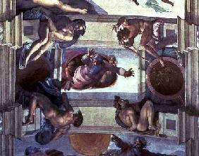 Sistine Chapel Ceiling: God Separating the Land from the Sea, with four Ignudi