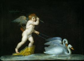 Cupid being led by a pair of swans