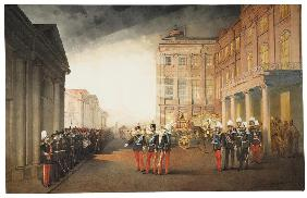 Parade in front of the Anichkov Palace in Petersburg