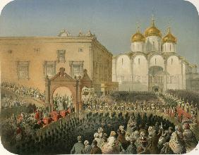 Entry Procession of of the Empress  Alexandra Feodorovna to the Cathedral of the Dormition