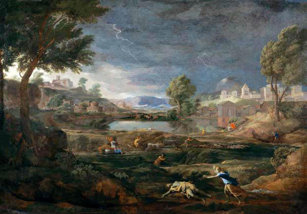 Thunderstorm countryside with Pyramus and Thisbe