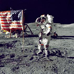Eugene A. Cernan, Commander, Apollo 17 salutes the flag on the lunar surface during extravehicular a