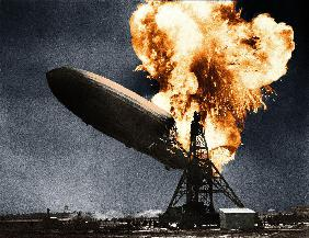German dirigible LZ-129 Hindenburg here in flame when he arrived in Lakehurst airport near New York