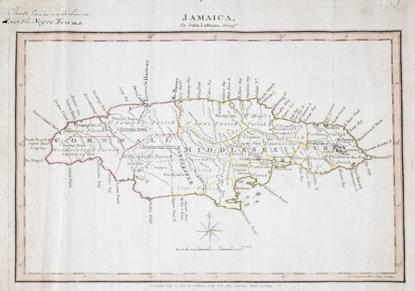 Map of Jamaica showing maroon settlements underlined, where runaway slaves found refuge, 1805 (ink o