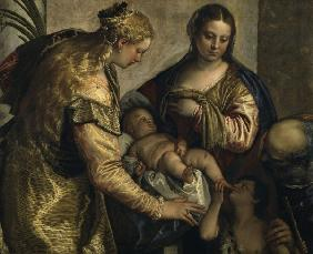 P.Veronese, Holy family and Barbara