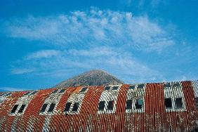 Rusted roof of a deserted warehouse with the breast of a mountain (photo)