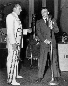 Tommy Dorsey and Frank Sinatra on stage in New York