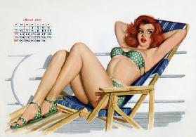 Pin up in bikini on a deckchair on a boat, tanning, from Esquire Girl calendar