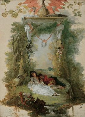 Watteau / Sleeping Lovers / Painting