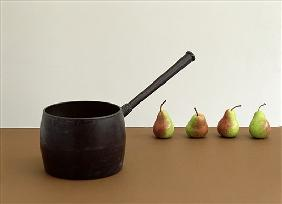 Pan & Four pears (after William Scott) 2005 (colour photo)
