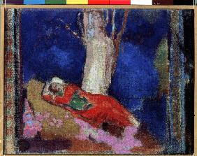 A Woman Lying Under The Tree