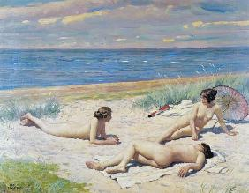 Nude bathers on the beach